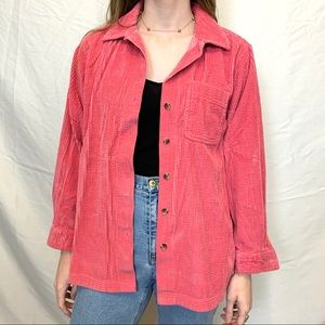 Hot pink L.L. Bean corduroy jacket button down